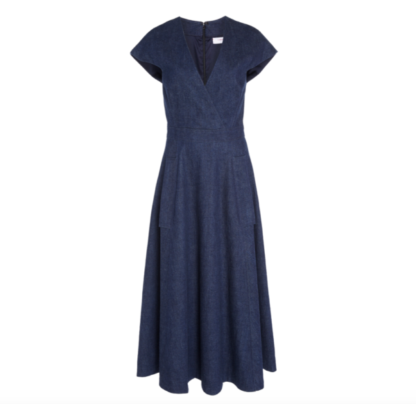 Carolina Herrera Midi Denim Wrap Dress-Meghan Markle