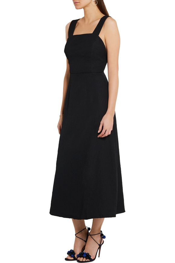 Emilia Wickstead Black Square Neckline Midi Dress