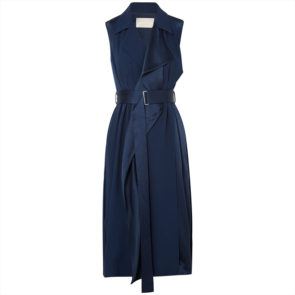 Jason Wu Navy Satin Trench Dress-Meghan Markle