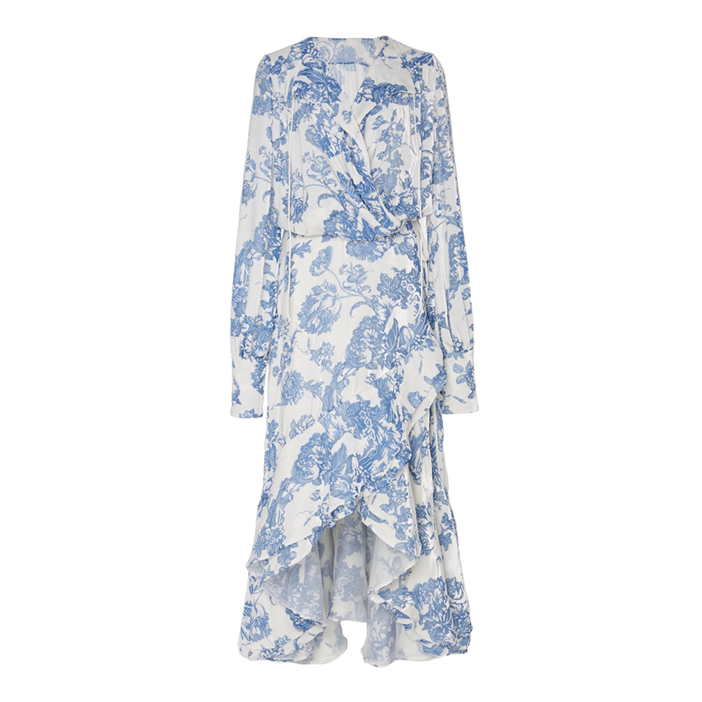 Oscar de la Renta Ruffled devoré-chiffon wrap midi dress-Meghan Markle