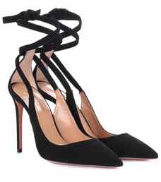 Aquazzura Milano 105 Black Suede Pumps-Meghan Markle