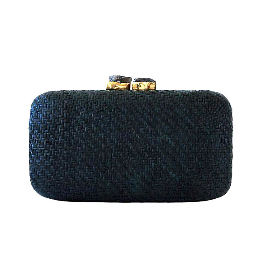 Kayu Anna Straw Black Clutch