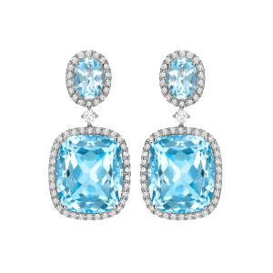 Kiki McDonough Blue Topaz Diamond Drop Earrings-Kate Middleton
