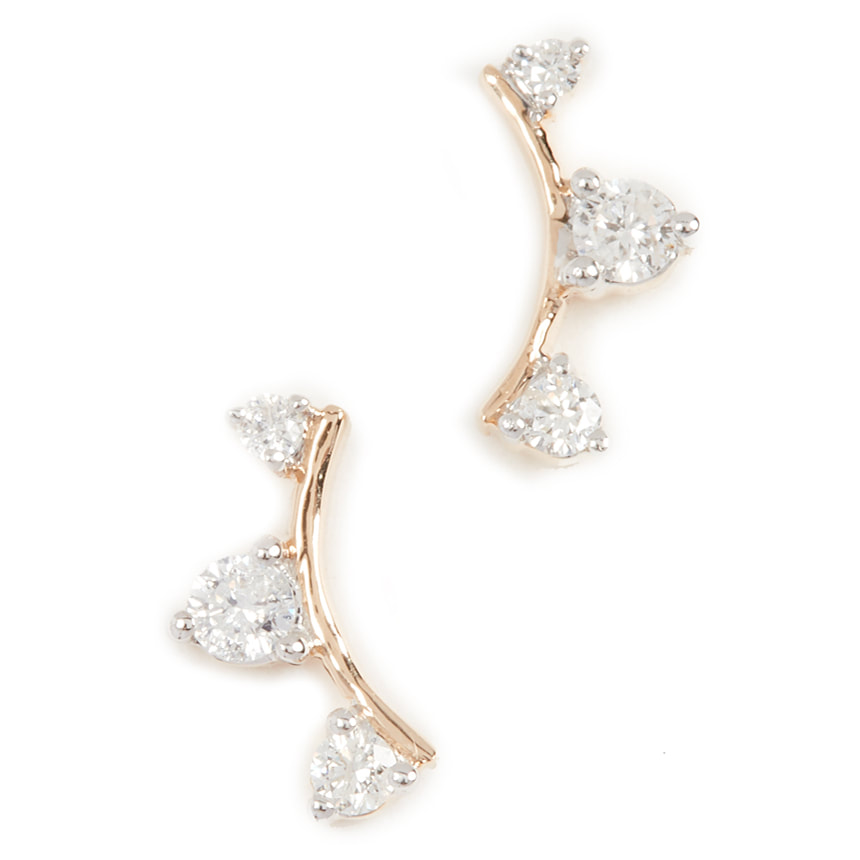 Adina Reyter Three Diamond Amigos Curve Earrings-Meghan Markle