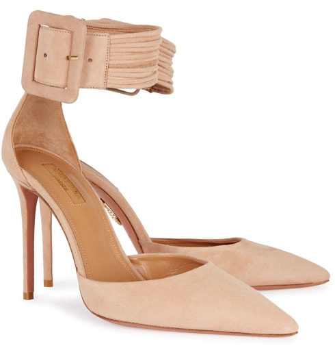 Aquazzura Casablanca Peach Suede Pumps-Meghan Markle