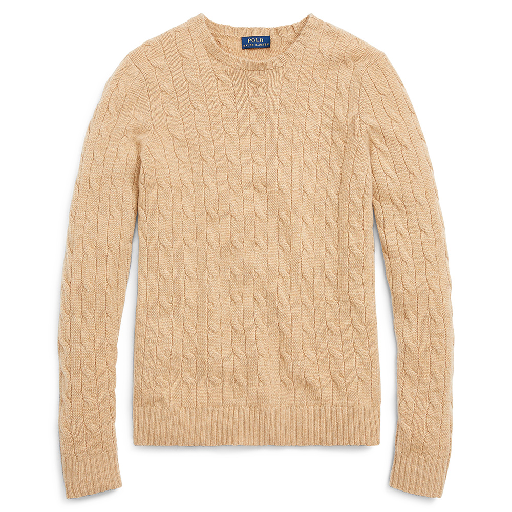 Ralph Lauren Cable-Knit Cashmere Sweater in Camel-Meghan Markle