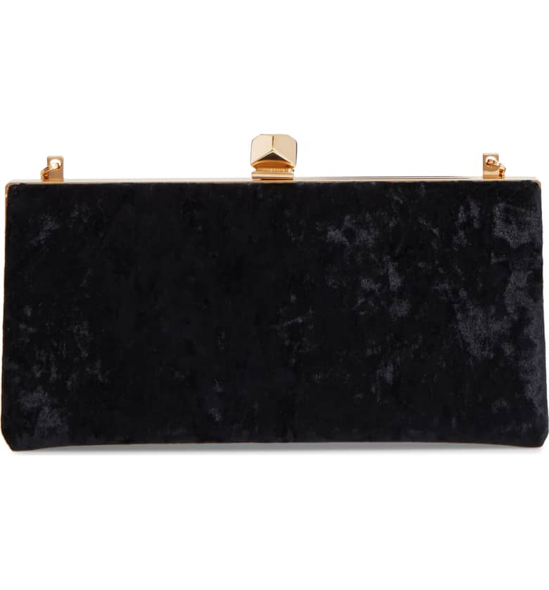 Jimmy Choo Celeste Black Velvet Clutch-Kate Middleton