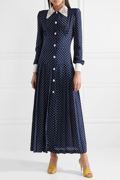 Alessandra Rich-Navy Polka Dot Dress-Kate Middleton