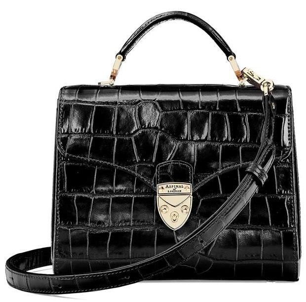 Aspinal of London- Midi Mayfair Bag in Black-Kate Middleton