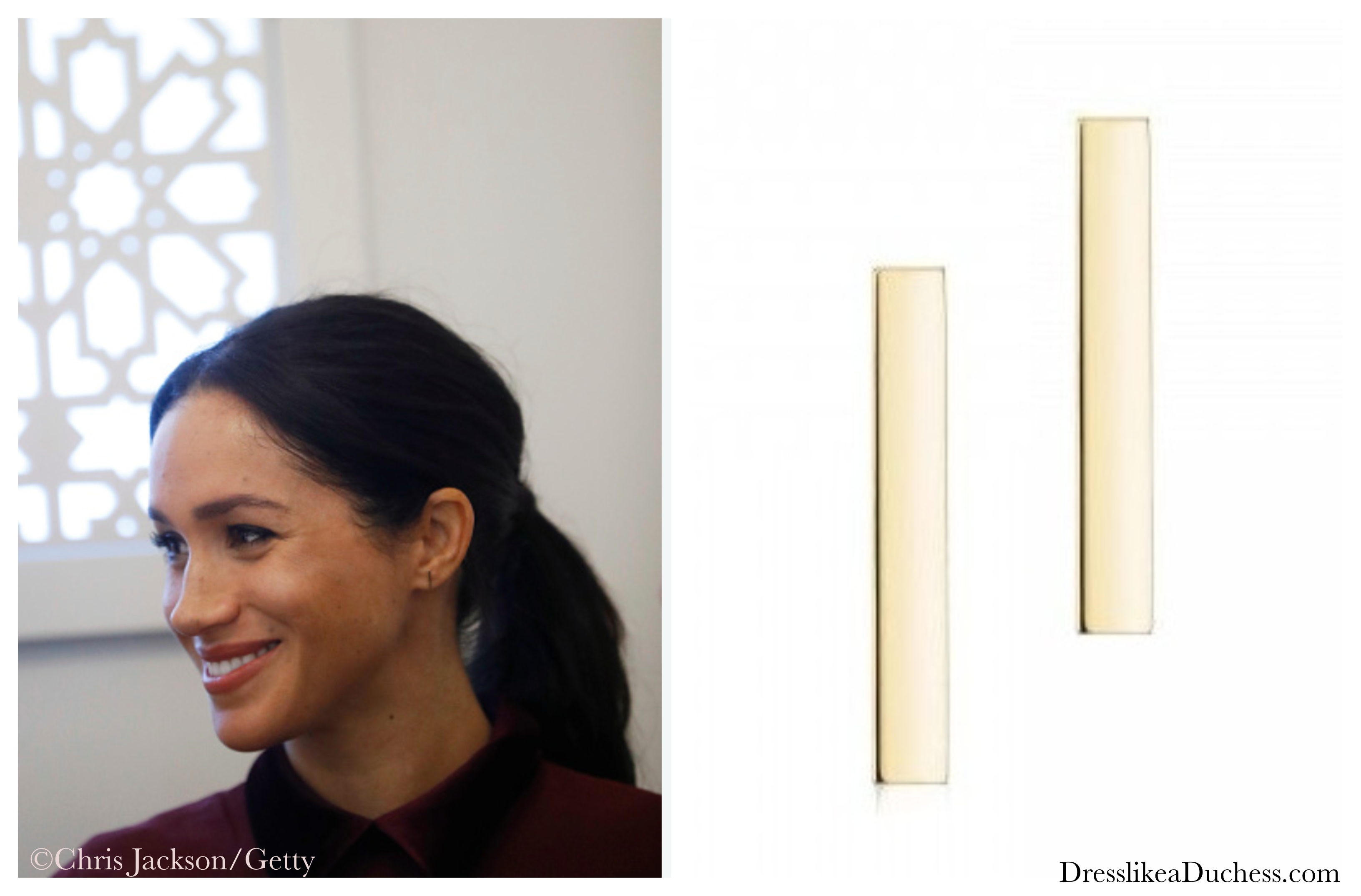 Birks 'Plaisirs de Birks' Gold Bar Earrings-Meghan Markle