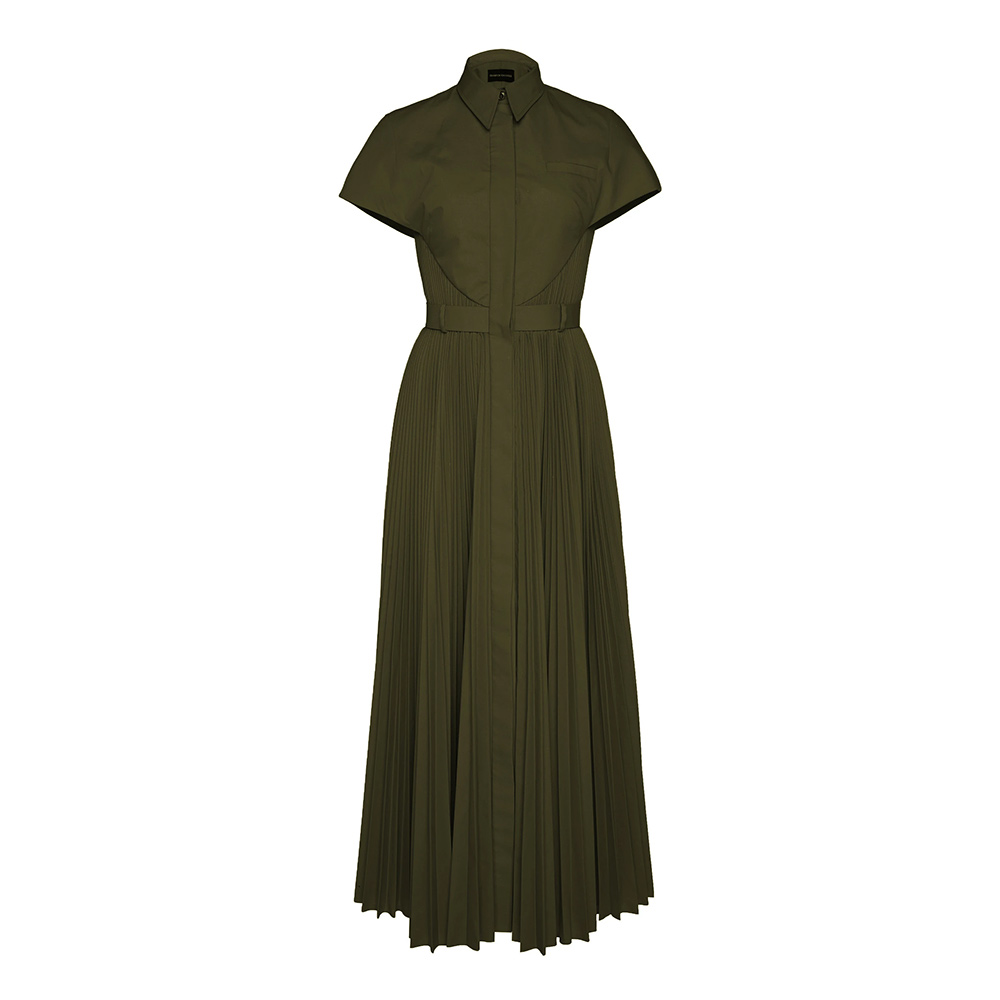 Brandon Maxwell Pleated Poplin 'Olive' Shirt Dress-Meghan Markle