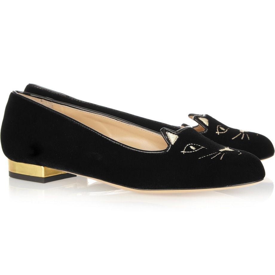 Charlotte Olympia Black Velvet 'Kitty' Slippers-Meghan Markle