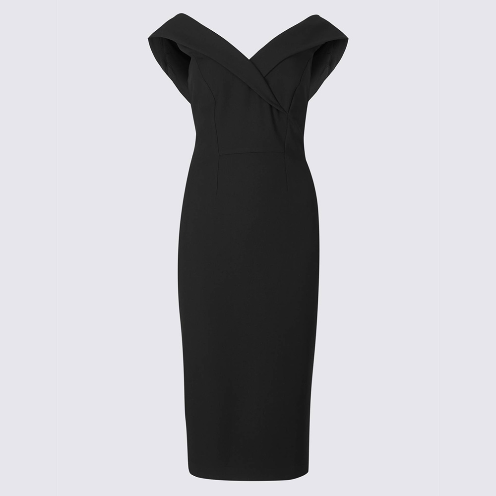 Marks & Spencer Crepe Bodycon Black Dress-Meghan Markle
