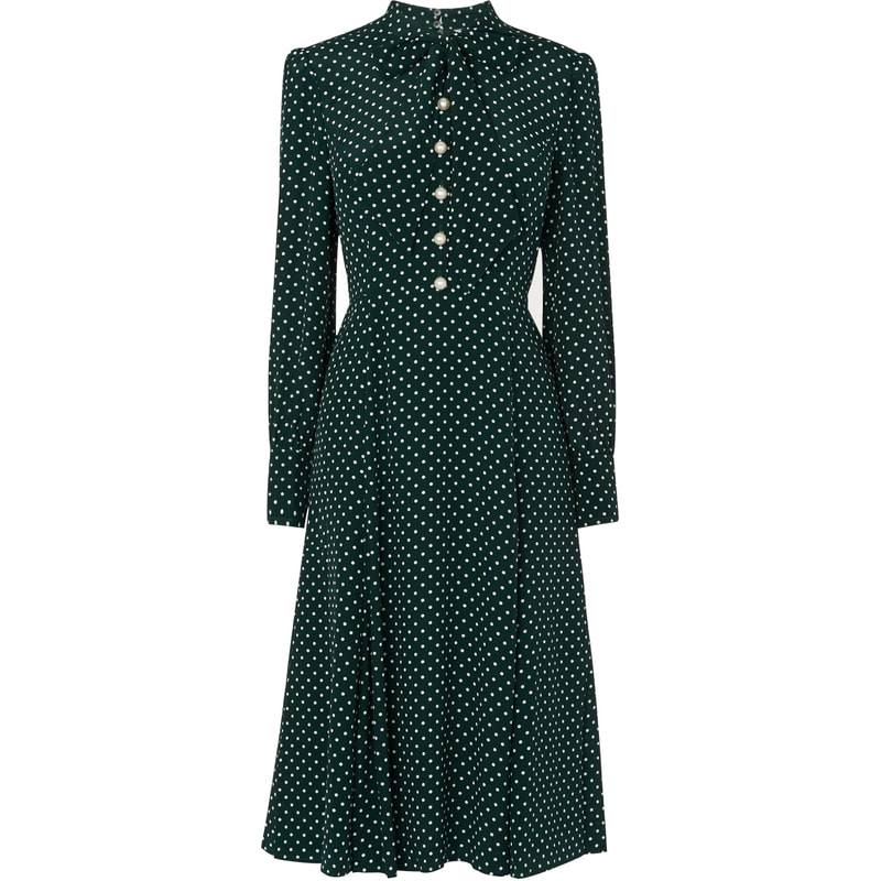 L.K. Bennett 'Mortimer' Green Polka Dot Dress-Kate Middleton