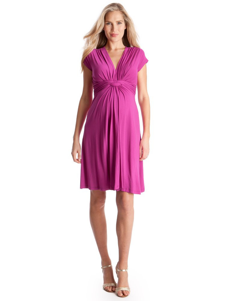 Seraphine Pink Fuchsia Knot Maternity Dress-Kate Middleton