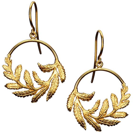 Catherine Zoraida-Gold Fern Hoop Earrings-Kate Middleton
