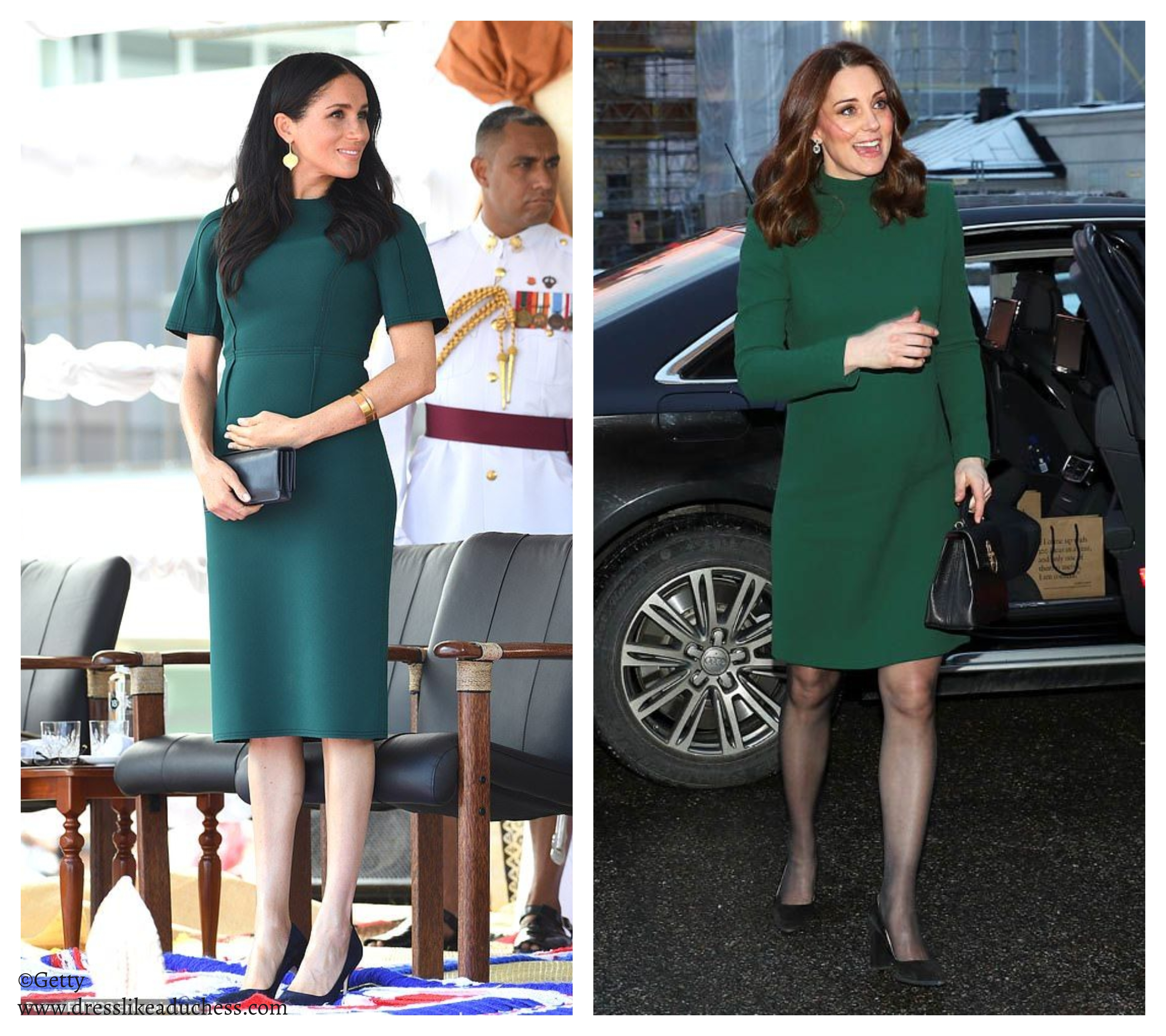 Meghan Markle In Loyd Ford Pleated Dress And Floral
