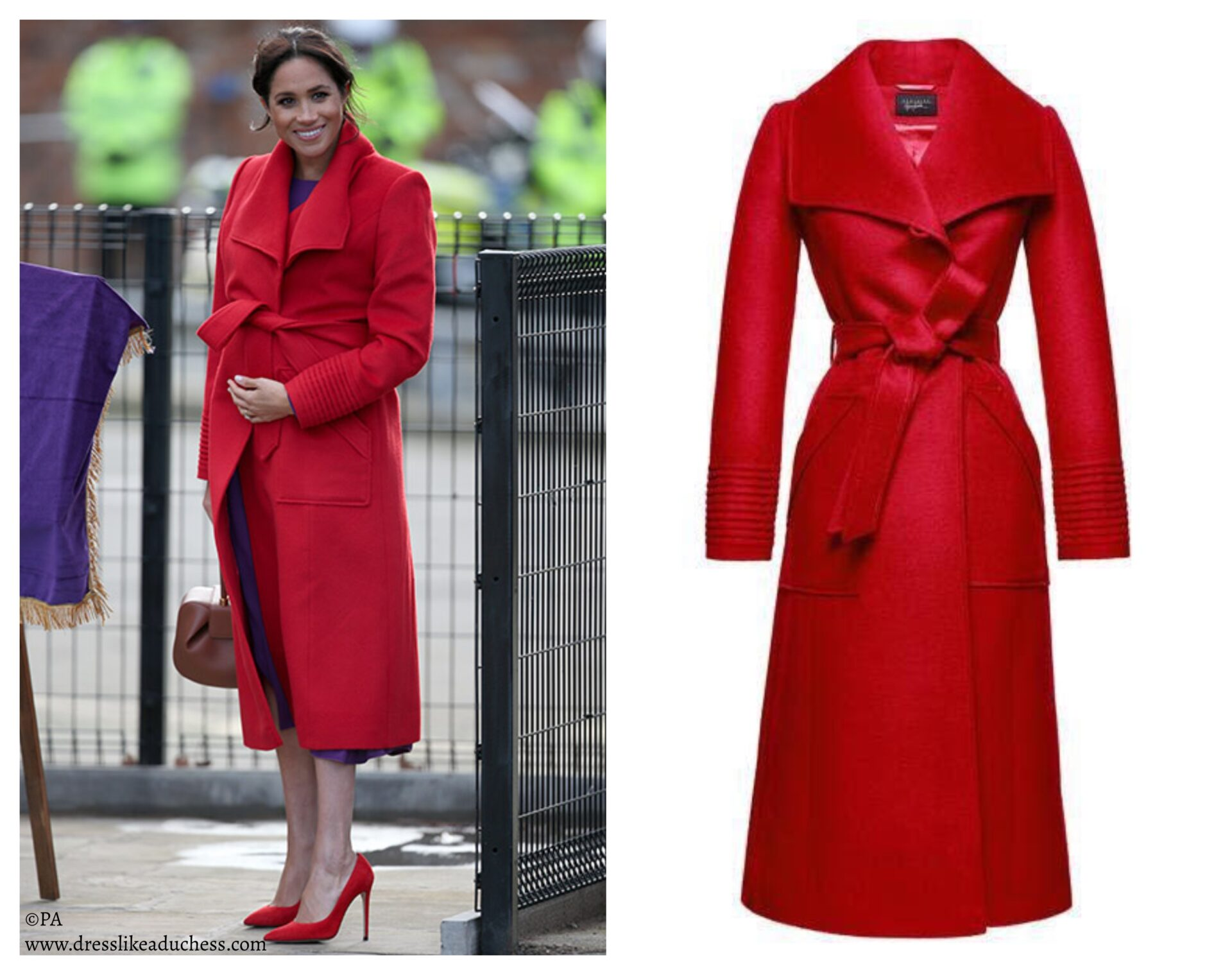 Sentaler Wide Collar Wrap Coat (Red)-Meghan Markle