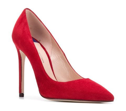 Stuart Weitzman Red Suede Pumps-Meghan Markle