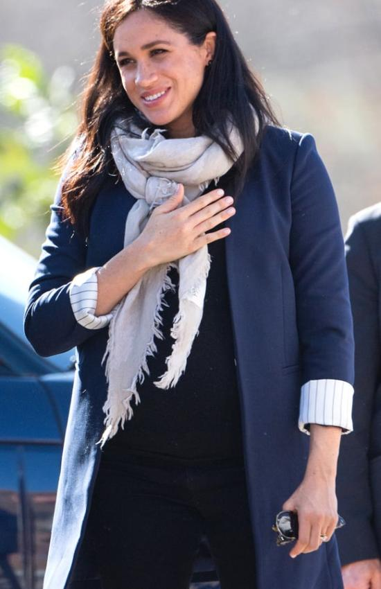 The Duchess of Sussex in a Blue Blazer and Slippers for Second Day in Morocco