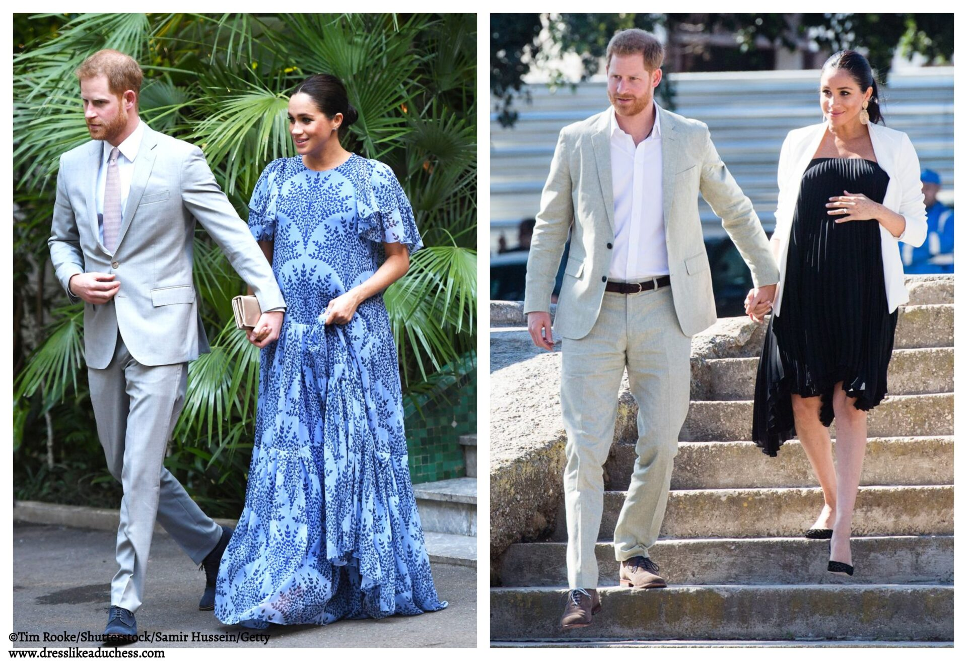 96f5c84f84 Meghan Markle in Loyd Ford Pleated Dress and Floral Carolina Herrera for  Final Day in Morocco