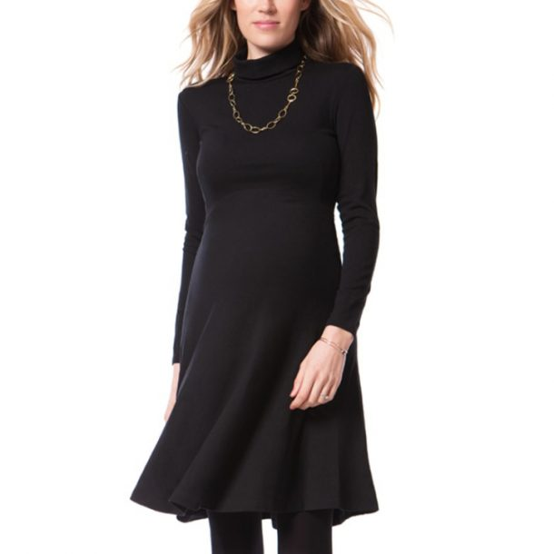Seraphine 'Vanessa' Black Turtleneck Maternity Dress-Kate Middleton