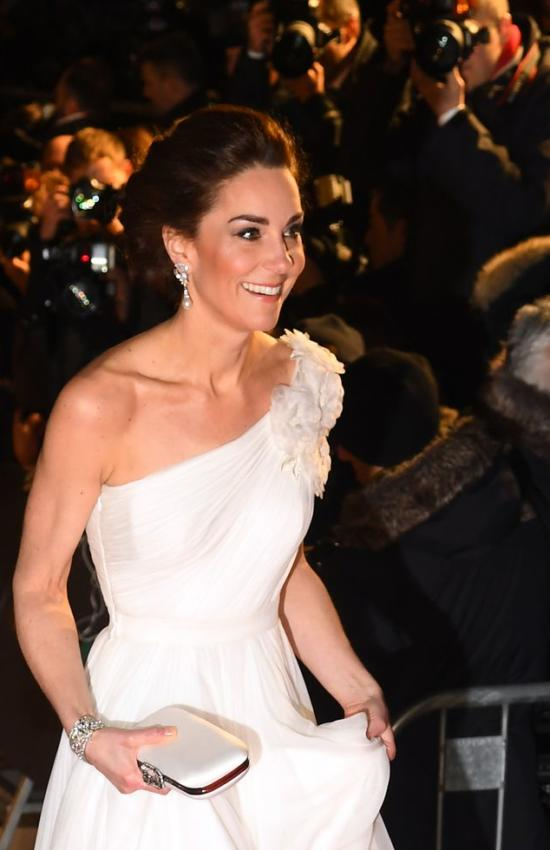 The Duchess of Cambridge in One Shoulder McQueen Gown for the BAFTA Awards