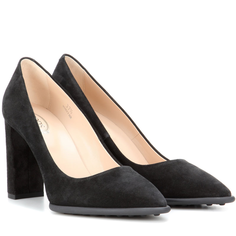 Tod's Black Suede Block Heel Pumps-Kate Middleton