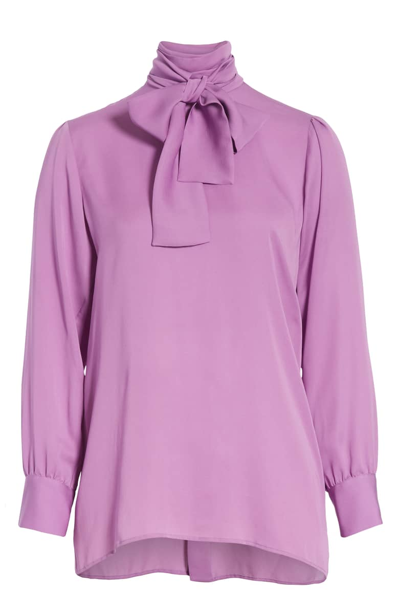 Gucci Silk Tie Neck 'Pale Violet Orchid' Blouse-Kate Middleton