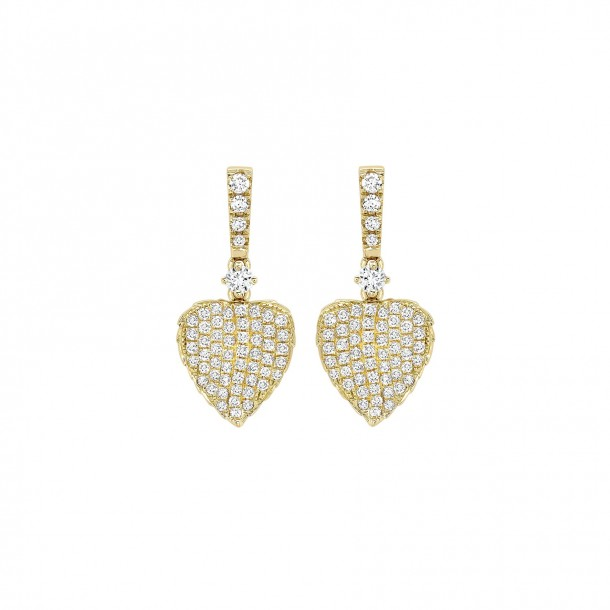 Kiki McDonough Lauren 18K Gold Full Diamond Leaf Drop Earrings-Kate Middleton