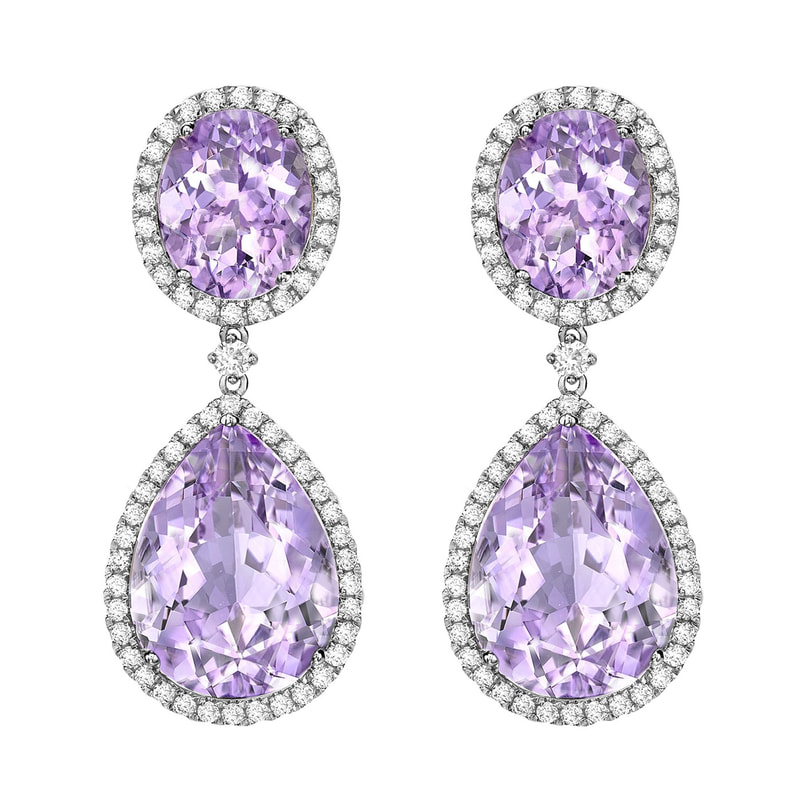 Kiki McDonough Lavender Amethyst Pear Drop Earrings-Kate Middleton