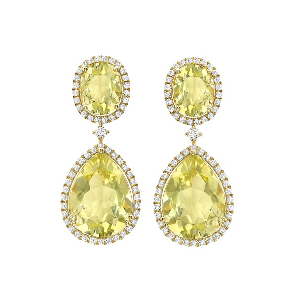 Kiki McDonough Lemon Quartz & Diamond Pear Drop Earrings-Kate Middleton
