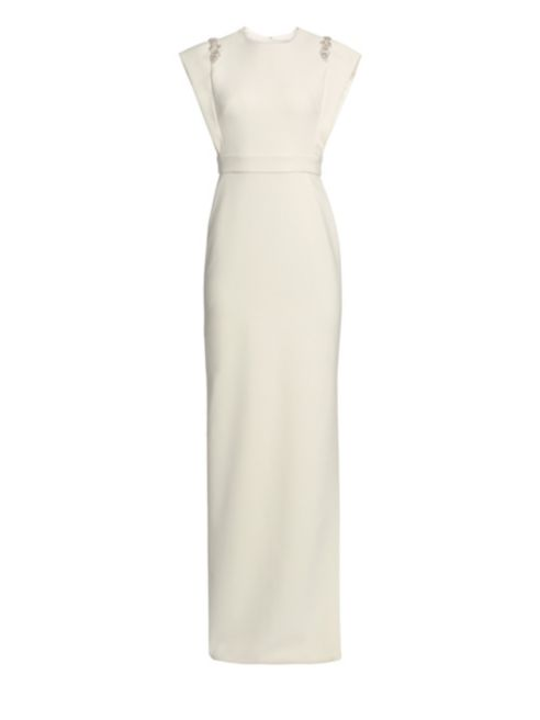 Theia Ivory Crepe Column Jeweled Gown-Meghan Markle
