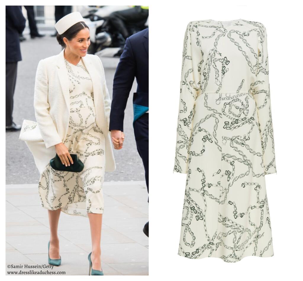 Victoria Beckham Printed Chain Crepe Long Sleeve Midi Dress Meghan
