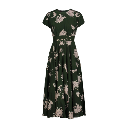 Rochas Green Floral Silk Midi Dress-Kate Middleton