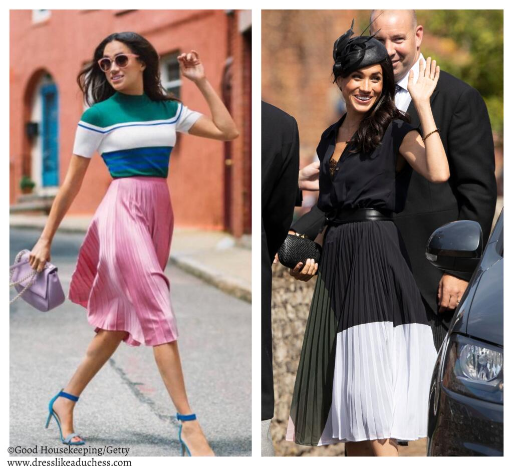 41c5848a7 The duchess looks gorgeous in a playful pleated midi skirt in a whimsical  colorblock or bubblegum pink.