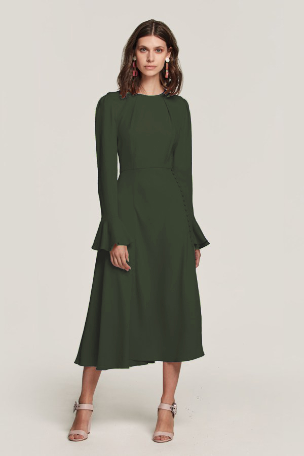 Beulah London Yahvi Olive Green Midi Dress-Kate Middletong