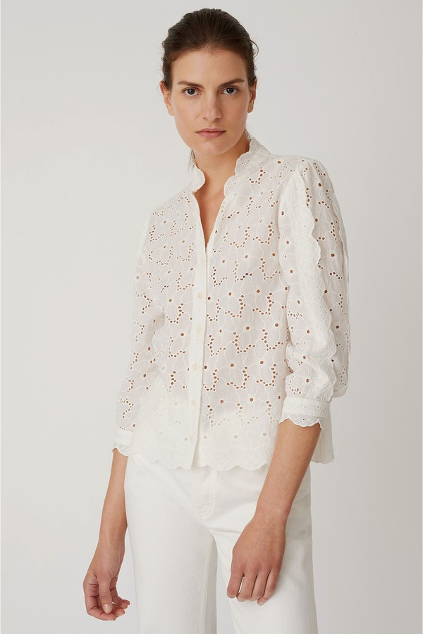 M.i.h Jeans Mabel white eyelet Shirt-Kate Middleton