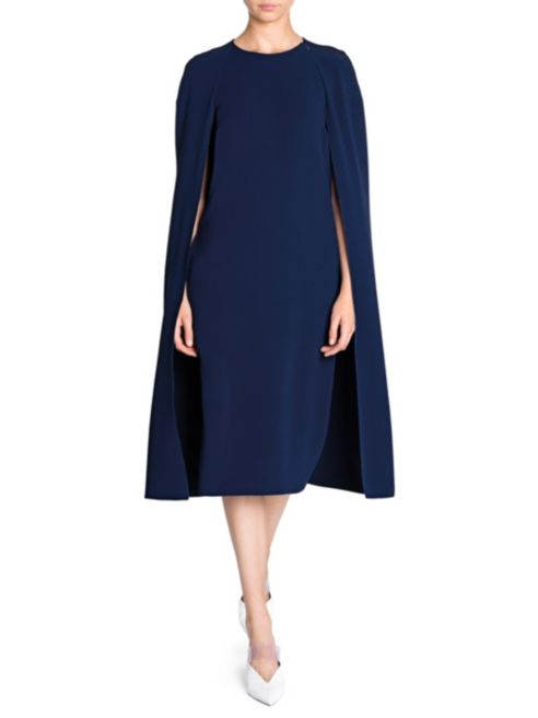 Stella McCartney Stretch Cady Cape Back Blue Dress-Meghan Markle
