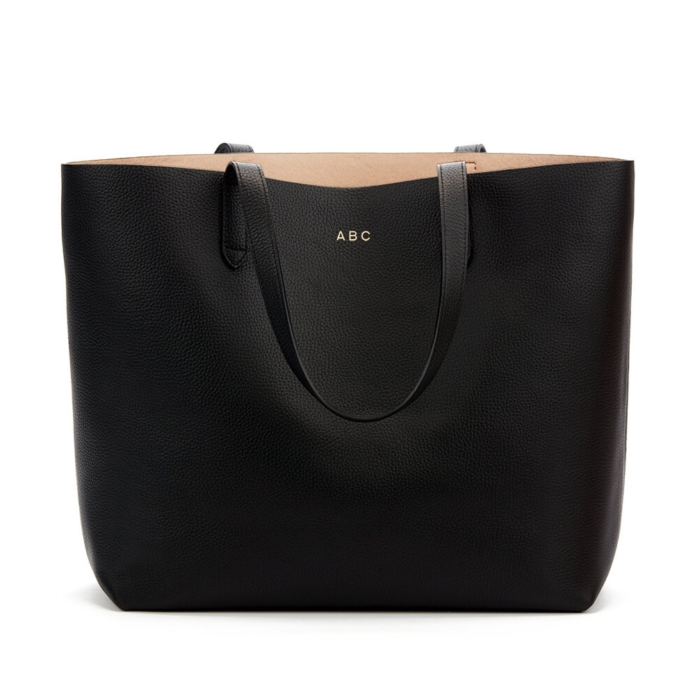Cuyana Black Structured Leather Tote-Meghan Markle
