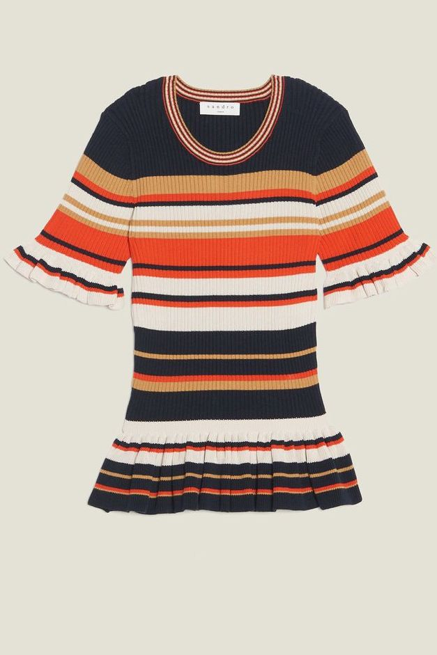 Sandro Striped Frilled Cotton-Blend Top-Kate Middleton