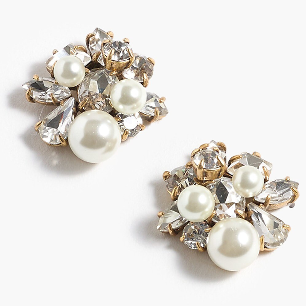 J.Crew Pearl and Crystal Cluster Earrings-Kate Middleton