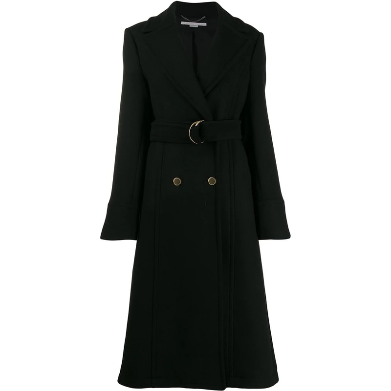 Stella McCartney Double-Breasted Black Wool Coat-Meghan Markle