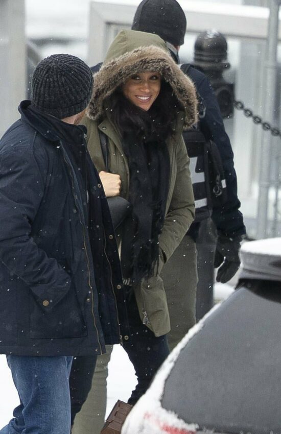 Meghan Markle Spotted Boarding a Seaplane in Canada in Green Parka
