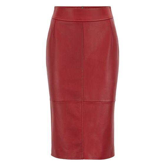 Hugo Boss Red Lambskin Pencil Skirt-Meghan Markle
