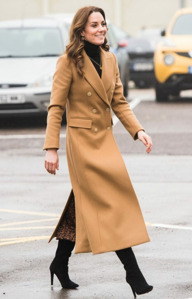 Duchess Of Cambridge In Animal Print Zara Skirt For Mini