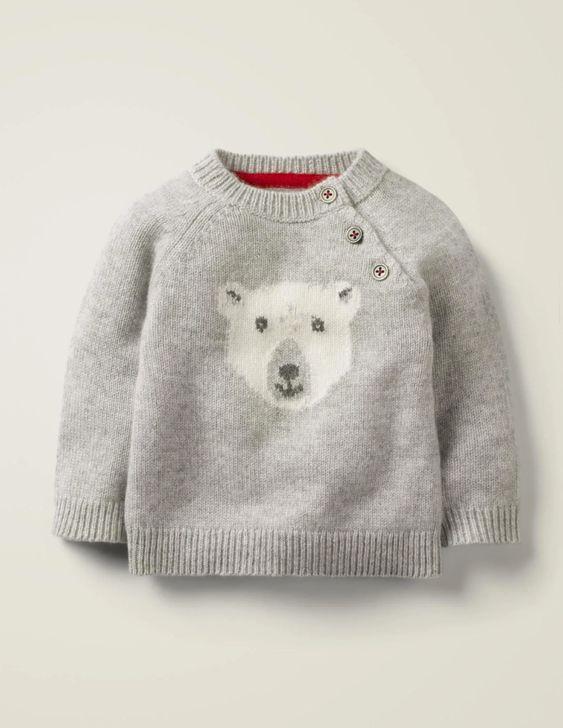 Boden Polar Bear Cashmere Sweater (Grey Marl)-Archie
